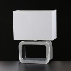 eckige Keramik-Tischleuchte Höhe 32cm in Chrom-Schirm Weiß 1x 30 Watt, weiß/chrom