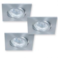 Eckiger LED Decken-Einbaustrahler - Aluminium - 3er-Set je 5 Watt