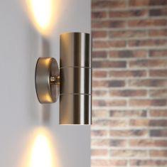 Edelstahl Wandleuchte mit tollem Lichteffekt, 2 x 5 Watt LED