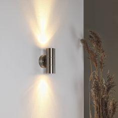 Edelstahl Wandleuchte, up and down Lichteffekt, 2 x 35 Watt