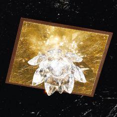 edle Deckenleuchte mit Kristallblüten und Blattfolienvergoldung einflammig 1x 40 Watt, 13,50 cm, 13,50 cm