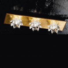 edle Deckenleuchte mit Kristallblüten und Blattfolienvergoldung dreiflammig 3x 40 Watt, 40,00 cm, 11,00 cm