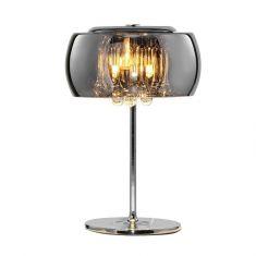Edle Tischleuchte in Chrom mit brilliantem Kristallbehang, chrombedampftes Glas, Höhe 36cm