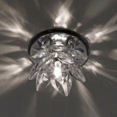 Einbauleuchte aus verchromtem Stahl mit geschliffenem klarem Kristallglas - inklusive Leuchtmittel