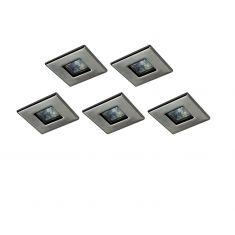 Einbauleuchten quadratisch in gebürstet, 5x 20W GU5.3 5x 20 Watt, 5-flammig