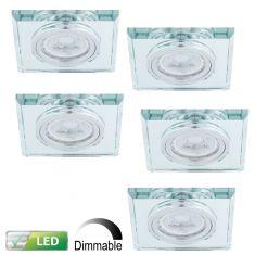Einbaustrahler dimmbar, Glasrahmen eckig, 5er-Set GU10 5W