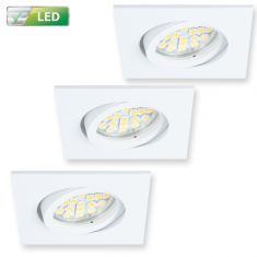 Einbaustrahler für die Decke - 3er-Set - Deckenspot Weiß - Eckig - Inklusive LED 3 x GU10  3 Watt  270 Lumen