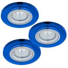Einbaustrahler rund mit Glas blau, 3er-Set Halogen GU10 35W