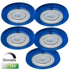 Einbaustrahler rund mit Glas blau, dimmbar, 5er-Set LED GU10 5W