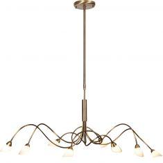 Elegante Pendelleuchte 8-flammig mit Opalglas - Bronzefarben