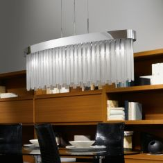 Elegante Pendelleuchte in Chrom mit Glasbehang - inkl. Leuchtmittel