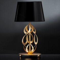 Elegante Tischleuchte - Lampenschirm in Schwarz - Oberfläche in Blattgold