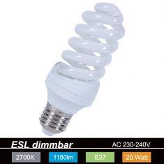 Energiesparlampe Spiralform -  E27 20 Watt - entspricht 86 Watt