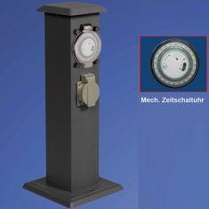 Energiesäulen in anthrazit, mit 2 Steckdosen +1 x Uhr 2- fach- mit Zeitschaltuhr
