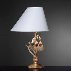 Erlesene Tischleuchte - Made in Italy - Blattgold Weiß - Lampenschirm in Weiß - Bunte Kristalle - Für E27  60 Watt
