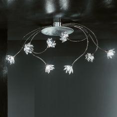 exclusive Deckenleuchte achtflammig mit klaren Kristallblüten und Blattfolienversilberung