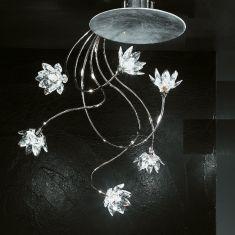 exclusive Deckenleuchte sechsflammig mit klaren Kristallblüten und Blattfolienversilberung
