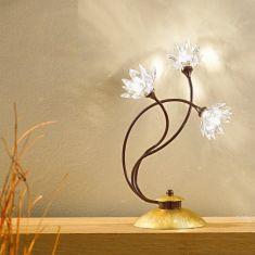 exclusive Tischleuchte mit klaren Kristallblüten und Blattfolienvergoldung