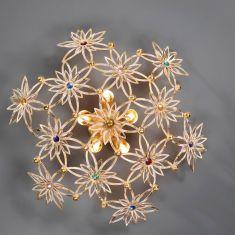 Exquisite Wand- oder Deckenleuchte 5-flammig - Handarbeit aus Italien - Blattgold weiß - Swarovski-Kristalle