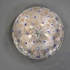 Exquisite Wand- oder Deckenleuchte 5-flammig - Handarbeit aus Italien - Blattsilber - Swarovski-Kristalle