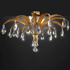 Extravagante Deckenleuchte, Blattgold/ -silber - Kristallbehang