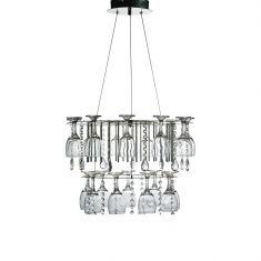 Extravagante LED Pendelleuchte in Chrom und Kristallgehänge