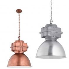 Extravagante Pendelleuchte im Fabrik-Stil, Metall in Alu gebürstet oder Kupfer