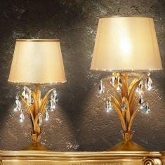 Extravagante Tischleuchte - Handgefertigt in Italien - Blattgold - Textilschirm - Kristallbehang - 2 Größen