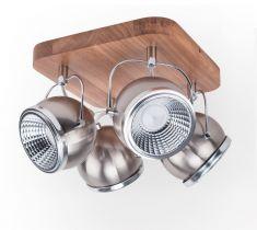 4  flammiger LED Strahler Ball Wood Nickel matt Eiche/Weiß 4x 5 Watt, 26,00 cm, 26,00 cm