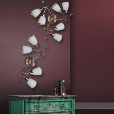 florale Leuchte für die Wand oder Decke, bronze, in zwei Größen wählbar