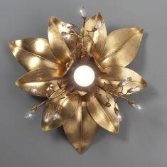 Florentiner Deckenleuchte 1-flammig - Blattgold - Kristalle