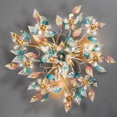 Florentiner Deckenleuchte, Farbe Harlekin, Bleikristallblüten