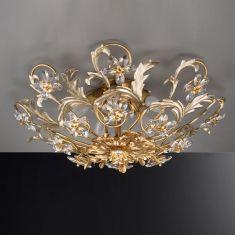 Florentiner Deckenleuchte - Handgefertigt in Italien - Blattgold und -silber - Bleikristallblüten
