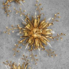 Florentiner Deckenleuchte - Handgefertigt in Italien - Eisen - Blattgold - Kristallrispen - 8-flammig - Durchmesser 50 cm 8x 40 Watt, 15,00 cm, 50,00 cm