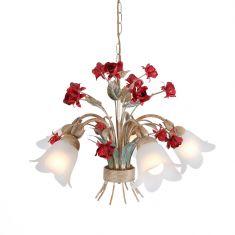 Florentiner Pendelleuchte, Weiß/Gold mit roten Rosen, 5-flammig