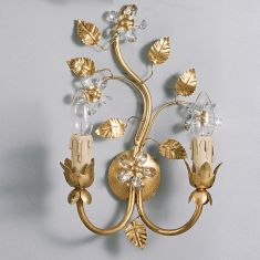 Florentiner Wandleuchte 2-flg. Blattgold / Glasblumen