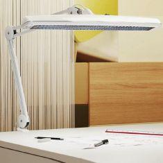 Funktionelle Arbeitsplatzleuchte mit Klemmfuß - Stahl - Weiss
