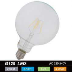G120  LED Globe 4W transp. E27 2700K  230V 370 Lumen