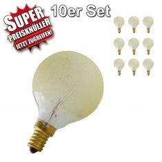Leuchtmittel Glühlampen Set 10 Stck. G50 Globe E14 Eiskristall bernstein 40 Watt im 10er Set 1x 40 Watt, 40 Watt