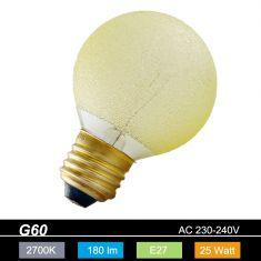G60 Globe E27 Eiskristall bernstein 25 Watt 1x 25 Watt, 25 Watt, 180,0 Lumen