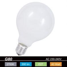 G80, Globe, 40 Watt, opal weiß, E27, stoßfest 1x 40 Watt, 40 Watt, 300,0 Lumen