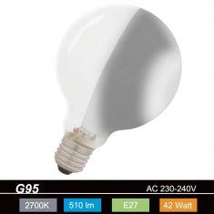 G95 Globe, Seitenspiegel-silber, E27, 42 Watt entspricht 60W