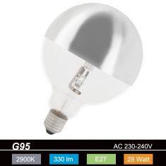 G95, Globe, Kopfspiegel-silber, E27, Halogen 1x 28 Watt, C, 28 Watt, 8.000 , 330,0 Lumen