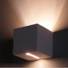 Gipswandleuchte Kubik 12 x 12cm Lichtaustritt asymmetrisch 1x 60 Watt, Lichtaustritt asymmetrisch
