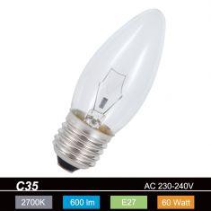Glühkerze Leuchtmittel C35 Kerze, 60 Watt klar, E27 1x 60 Watt, 60 Watt, 600,0 Lumen