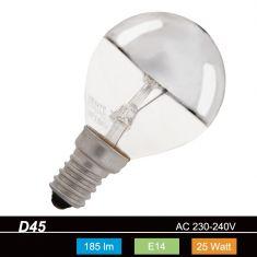 Glühlampe D45, E14 kopfverspiegelt silber 25 Watt