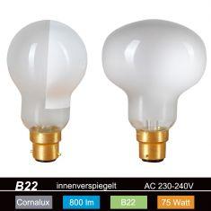 Hammerkopf Glühlampe passend für O.Luce + Flos Leuchten 240V 75W B15d innenverspiegelt 85x115mm 1x 75 Watt, 75 Watt, 800,0 Lumen