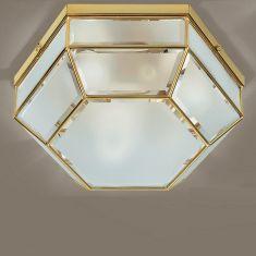 handgefertigte Deckenleuchte, Ø 38cm in Messing brüniert-Kristallglas weiß messingfarbig, brüniert, satiniert/weiß