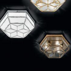 handgefertigte Deckenleuchte, Ø 42,5cm in drei edlen Oberflächen und zwei Kristallglasarten wählbar