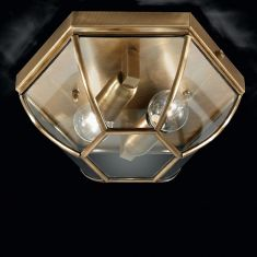 handgefertigte Deckenleuchte mit hochwertigem Kristallglas, Ø 38cm in vier edlen Oberflächen wählbar